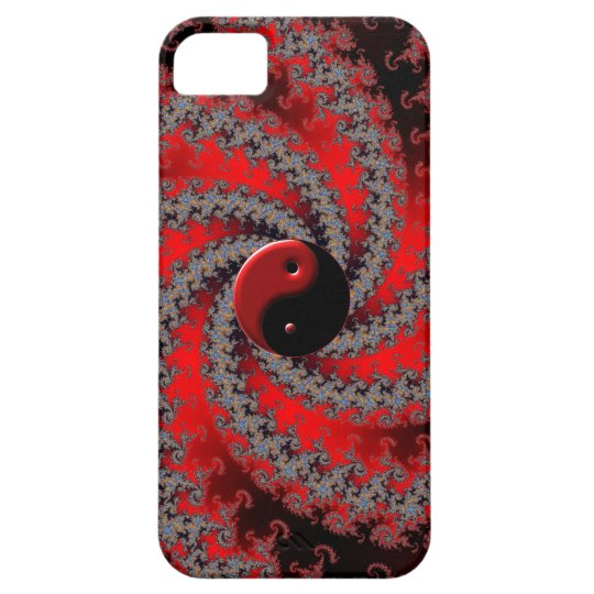 Red and Black Fractal Yin-Yang iPhone Case