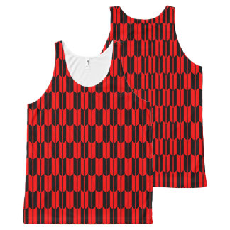 Red and Black Geometric Pattern All-Over Print Tank Top