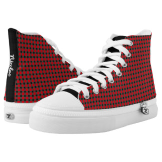 Red and Black Gingham Pattern Personalized Name High Tops