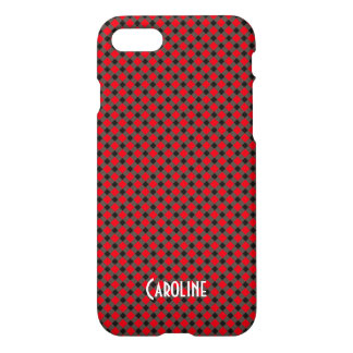 Red and Black Gingham Pattern Personalized Name iPhone 8/7 Case