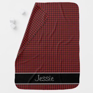 Red and Black Gingham   Personalized Baby Blanket