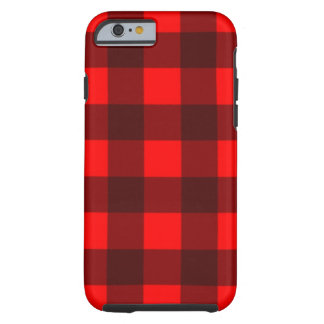 Red and Black Gingham Plaid Design Tough iPhone 6 Case
