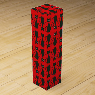 Red and Black Goth Cat Pattern Wine Gift Box