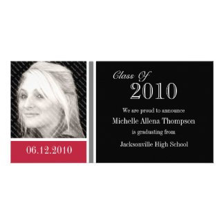 Red and Black Graduation Announcement Photo Cards
