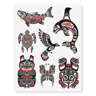 Red and Black Haida Native Animal Collection