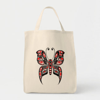 Red and Black Haida Spirit Butterfly Canvas Bag