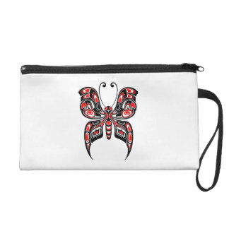 Red and Black Haida Spirit Butterfly on White Wristlet Purse