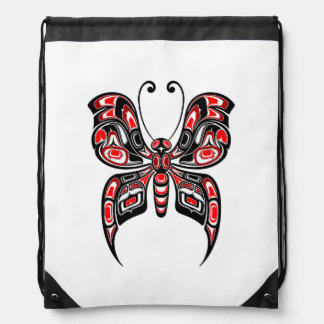 Red and Black Haida Spirit Butterfly on White Backpacks