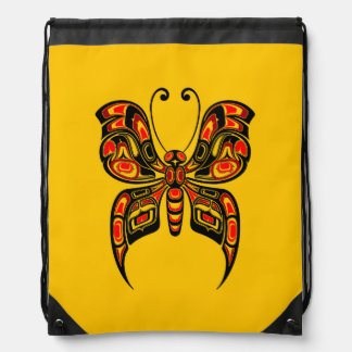 Red and Black Haida Spirit Butterfly on Yellow Drawstring Backpack