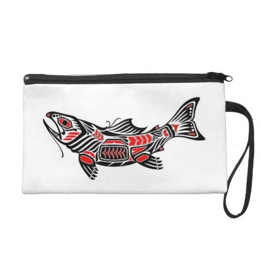 Red and Black Haida Spirit Fish Wristlet Purses