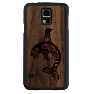 Red and Black Haida Spirit Killer Whale Carved Walnut Galaxy S5 Case