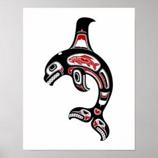 Red and Black Haida Spirit Killer Whale Poster