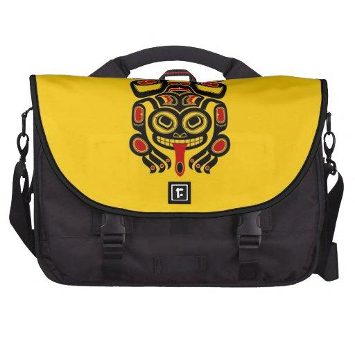 Red and Black Haida Spirit Tree Frog on Yellow Commuter Bag