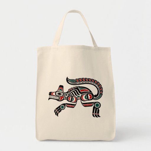 Red and Black Haida Spirit Wolf Tote Bags