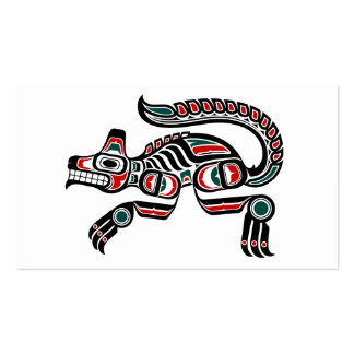 Red and Black Haida Spirit Wolf Double-Sided Standard Business Cards (Pack Of 100)