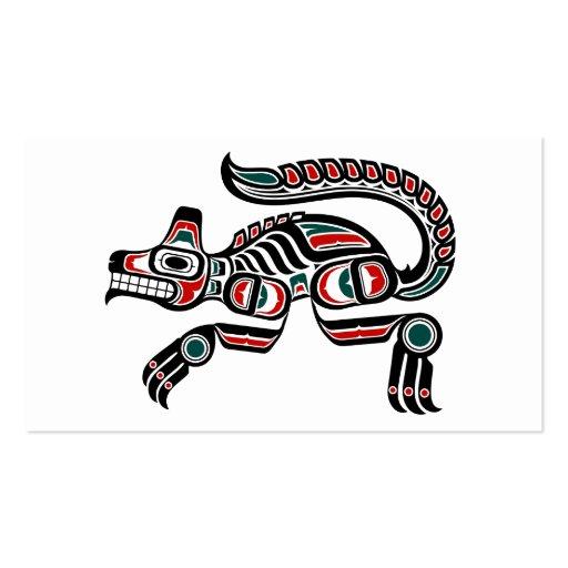 Red and Black Haida Spirit Wolf Business Card