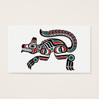 Red and Black Haida Spirit Wolf Business Card