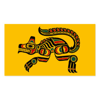 Red and Black Haida Spirit Wolf on Yellow Double-Sided Standard Business Cards (Pack Of 100)
