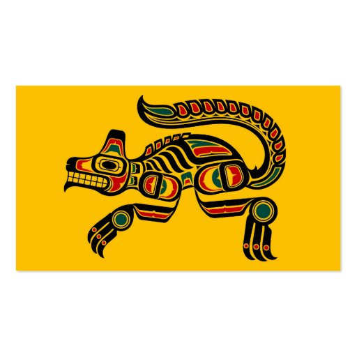 Red and Black Haida Spirit Wolf on Yellow Business Card Template
