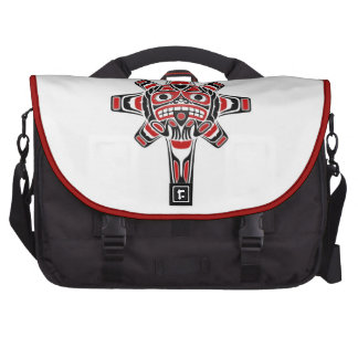 Red and Black Haida Sun Mask on White Laptop Computer Bag