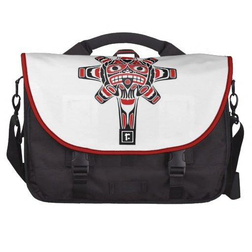 Red and Black Haida Sun Mask on White Laptop Computer Bag
