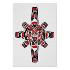 Red and Black Haida Sun Mask on White Poster