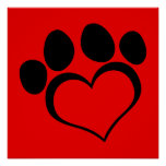 Red and Black Heart Paw Poster