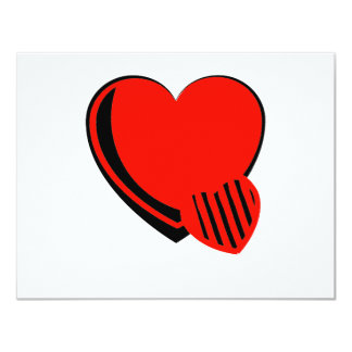 Red and Black Hearts 11 Cm X 14 Cm Invitation Card