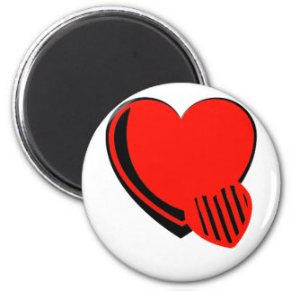 Red and Black Hearts 6 Cm Round Magnet