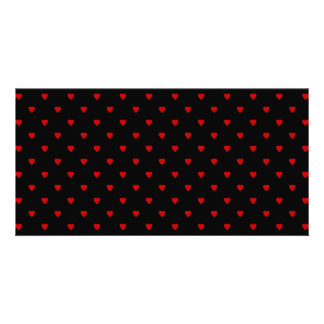 Red and Black Hearts. Pattern. Photo Card Template