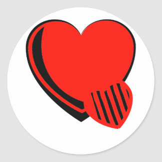 Red and Black Hearts Round Sticker