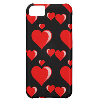 Red and Black Hearts Valentine's Day Pattern iPhone 5C Case