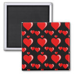 Red and Black Hearts Valentine's Day Pattern Square Magnet