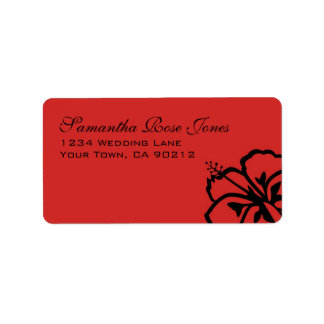 Red and Black Hibiscus Flowers Custom Address Label