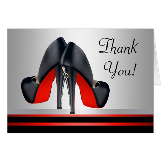 Red and Black High Heel Shoes Thank You Cards