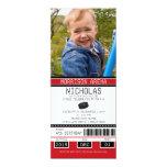 Red and Black Hockey Ticket Birthday 10 Cm X 24 Cm Invitation Card