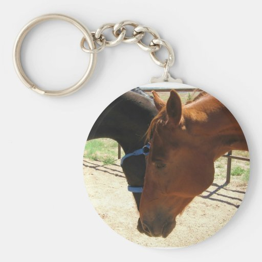 Red and Black Horse Friends Share a Secret Key Chains