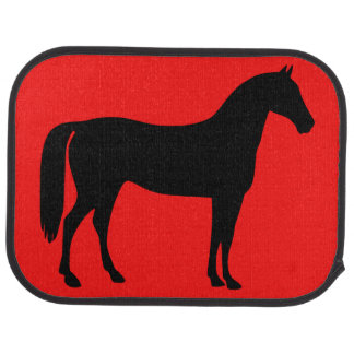 Red and Black Horse Silhouette Car Mat