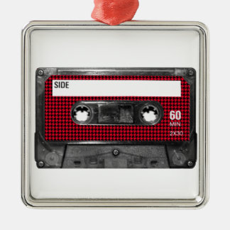 Red and Black Houndstooth Label Cassette Silver-Colored Square Decoration