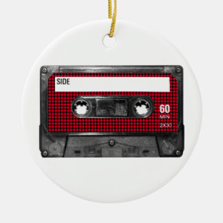 Red and Black Houndstooth Label Cassette Round Ceramic Decoration