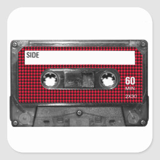 Red and Black Houndstooth Label Cassette Square Stickers