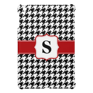 Red and Black Houndstooth Monogram Personalized iPad Mini Covers