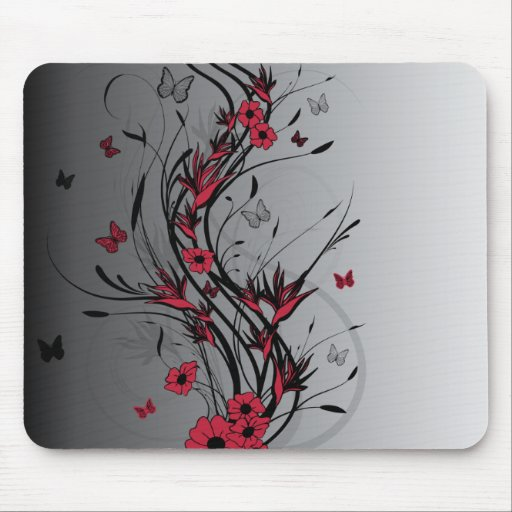 Red and Black Illustrated Floral Mousepad