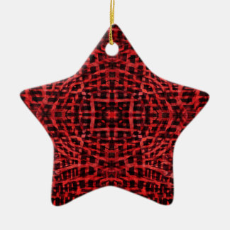 Red and black kaleidoscope pattern christmas ornament