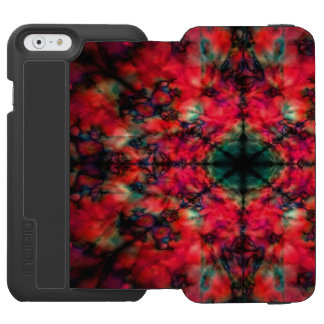 Red and black kaleidoscope pattern incipio watson™ iPhone 6 wallet case