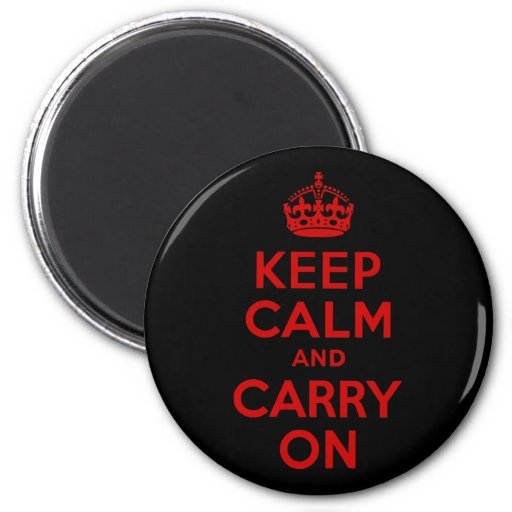 Red and Black Keep Calm and Carry On 6 Cm Round Magnet