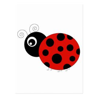 Red and Black Ladybug Postcard