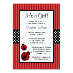 Red and Black Ladybug Striped Dots Baby Shower Custom Invites
