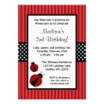 Red and Black Ladybug Striped Dots Birthday Party Personalized Invitation