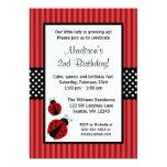 Red and Black Ladybug Striped Dots Birthday Party 13 Cm X 18 Cm Invitation Card